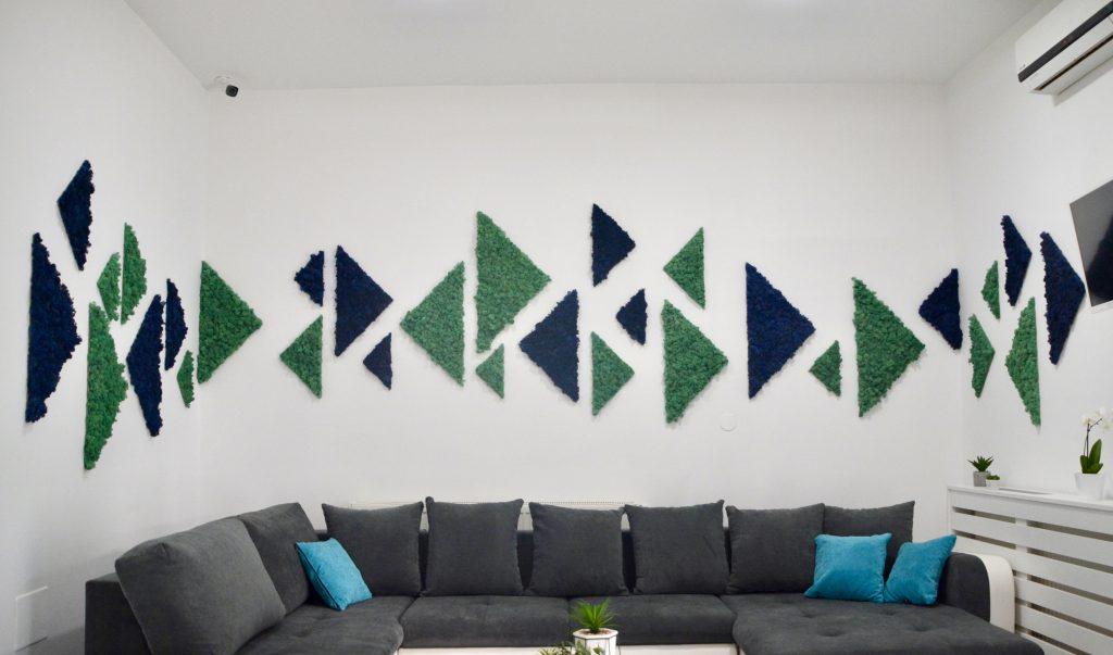 triunghiuri din licheni decorativi